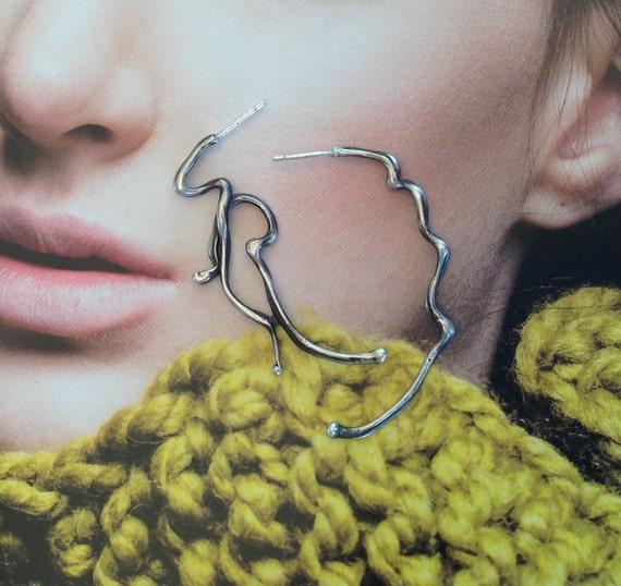 Sculptural Earrings, Large Silver Earrings, Long Post Earrings, Long Silver Earrings. Sterling Silver Stud Earrings. Dangling, Asymmetric