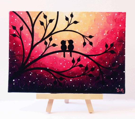 Mini Painting Love Birds Art Mini Canvas Art Purple Sunset