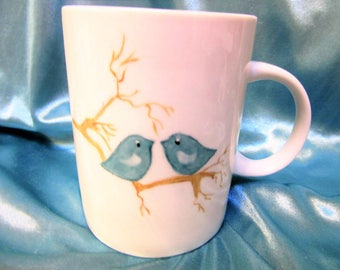 Mugs Birds Coffee Tea Porcelain Ceramic Hand Painted Kitchen BB