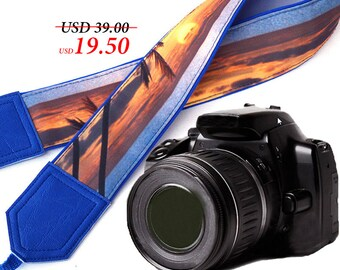 Blue DSLR / SLR Camera Strap. Sea Camera Strap. Beach camera strap. Camera accessories. Photographer gift.