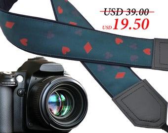 Play cards camera strap. Black Jack. Poker. Card game strap. Dark green DSLR / SLR Camera Strap. Camera accessories. Great Gift by InTePro