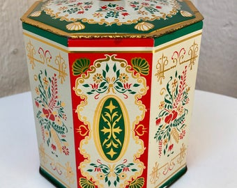 Vintage Folk Art Tin Made in Western Germany, Vintage Red, Green and Gold Cookie Tin