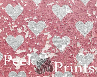 "Valentine Backdrop 4ft.x4ft. Pink Hearts Vinyl Photography Backdrop ""Peeling Shabby Pink Hearts"""