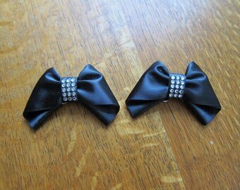 Vintage formal black satin and rhinestone shoe clips - these clip to any shoe and are removeable
