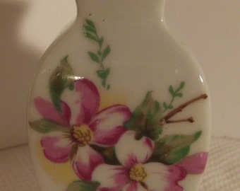 Vase, Porcelain, Ceramic, Hand Painted, Vintage, Miniature, DOGWOOD BLOOMS, Japan, Mid-Century