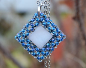 Blue and Pearlescent White Square Woven Bead Necklace