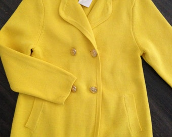 Brooks Brothers Bright Yellow Fleece Double Breasted Girl's Jacket