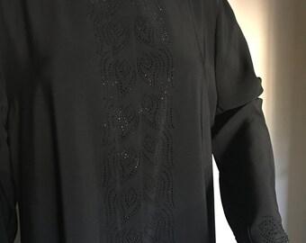61-Hidden Button Front of Stone Luxury Plus Size Abaya