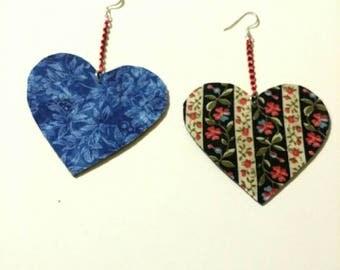 Fabric Heart Earrings 3