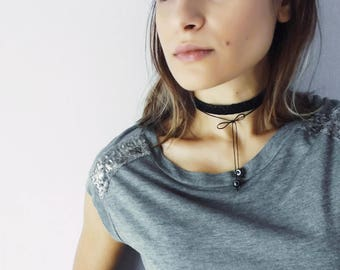 Black Leather Wrap Choker with Stones, Boho Layered Leather Necklace for Women, Bow Choker