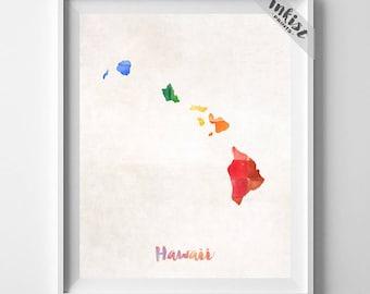 Hawaii Map, Honolulu Print, Hawaii Poster, Honolulu Map, Map Art, Travel Poster, Watercolor Painting, Wall Decor, Dorm Decor