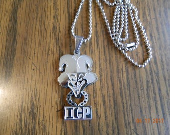 "Mint in Package ICP ""Carnival of Carnage"" Polished Stainless Steel pendant w/30 inch ball chain"