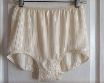 Vintage full brief stripped granny panties sz 8 beige Medium