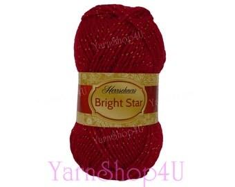 SALE!! CARDINAL Red/Gold yarn Christmas Yarn, Herrschners Bright Star, Metallic threads, 3.5oz, Red Metallic, Acrylic blend, 100g