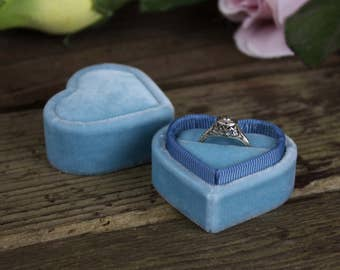 Heart Shaped Velvet Ring Box in Smokey Blue for Weddings, Proposals and Ring Storage