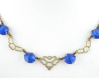 1920s - Art Deco  / Vintage Blue Faceted Glass Open Back Gold Tone Necklace