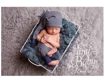 Jamie Set. Newborn Boys Prop Set. Stripe Pants and Hat Set, Upcylced Set, Blue White Pants, Trouser Set Newborn Photo Prop, UK Seller