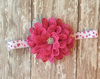 Valentine's Day Headband - Valentine Headband - Heart Headband - Valentine Outfit - Valentine Bow - Valentine's Day Hair Bow - Valentine