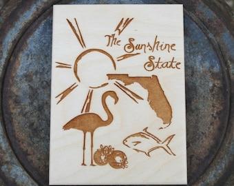 Florida Wood Art Print Postcard Size