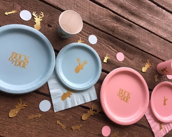 Buck or Doe Gender Reveal Party or Baby Shower Cups, Plates, and Napkins, Boy or Girl Party, Baby Shower Supplies, Its a Boy, Its a Girl,