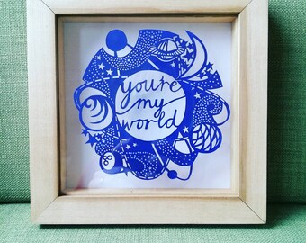 You're My World Original Framed Papercut