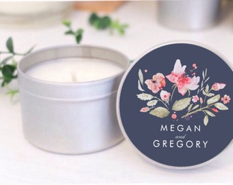 Personalised wedding favours / bomboniere. Soy candle tins. Navy Blue Floral design by Mahina