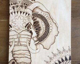 Elephant Art -  Mandala - Wood Burning -  Rustic Decor - Art on Wood -  Dotwork - Modern Art - Unique Decor -  Pyrography Art - TimberleeEU