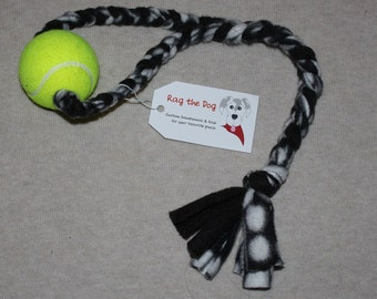 Black & White Pawprint Braided Fleece Rope Pull Toy with Tennis Ball for Dog