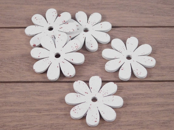 White flower wooden diecuts wood shapes cottage chic for Craft supplies wooden shapes