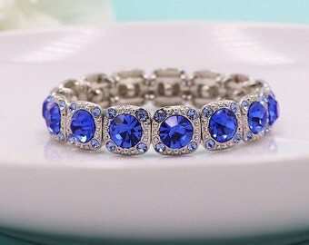 Sapphire Blue Bridal bracelet, rhinestone wedding bracelet, crystal bracelet, bridal jewelry, wedding bridesmaid bracelet 498944608