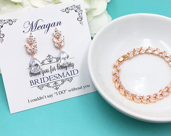 Rose Gold Bridesmaid Jewelry Gift Set, Bridesmaid Bracelet Set, Bridesmaid Jewelry Gift, personalized bridesmaid jewelry set 483223583