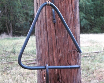 Triangle Bell and Wall Hook - traditional hand-forged rustic, log cabin shabby chic country decor gift idea.