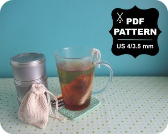 English-French Two Needle KNITTING PATTERN / Digital Download / #17 / Tea Bag & Coaster / US4 / 3.5mm