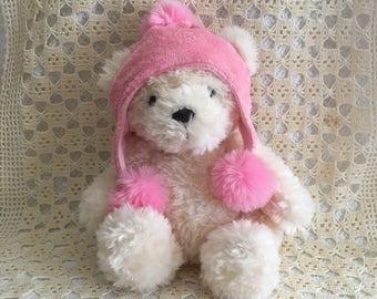 White Plush Bear with Pink Winter Hat, Aurora World Bear, 12 inch White Plush Bear