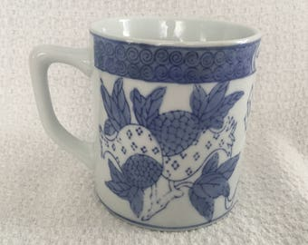Cobalt Blue on White Floral Pineapple Mug, Blue on White Floral Mug, Asian Design Mug, Cobalt Blue Mug, Pineapple Design Mug