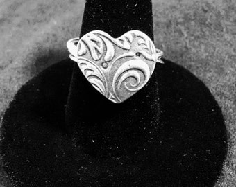 Heart Ring in Silver Pewter