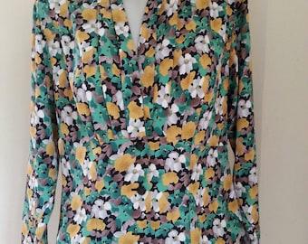 Vintage Pierre Balmain Floral Print Blouse M