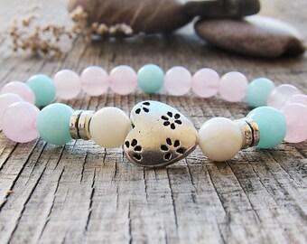 White howlite bracelet Protection bracelet Women bracelet Howlite jewellery Gift for yoga lovers Amulet bracelet Gift ideas for wife