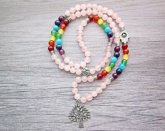 108 mala necklace 108 mala beads 108 mala bracelet Tibetan mala Chakra bracelet Chakra necklace Calming stone bracelet Tree of life bracelet
