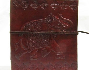 ELEPHANT - Embossed Handmade Leather  Diary- Travel Sketchbook Journal Notebook