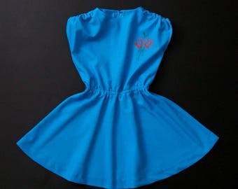 German DDR blue sleeveless light-weight girls summer dress age 6