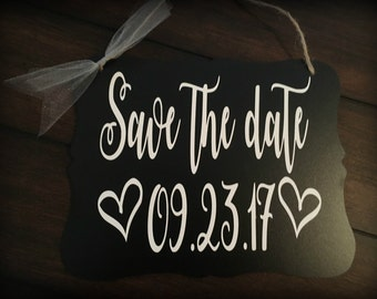Save The Date, Rustic Save the date, Save the date sign, Save the date photo prop, Save the date banner, Save the date sign for dog