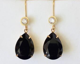 Black Crystal Drop Earrings Swarovski Crystal Earrings Black Rhinestone Crystal Teardrop Earrings Crystal French Ear Wires Teardrop Earrings