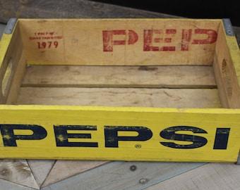 Vintage 1979 Yellow Pepsi Wooden Soda Crate