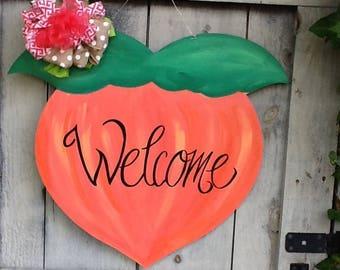 Georgia peach sign, peach door hanger, Georgia door hanger, fruit door sign, peach sign, Georgia peach sign, Georgia sign, fruit door sign