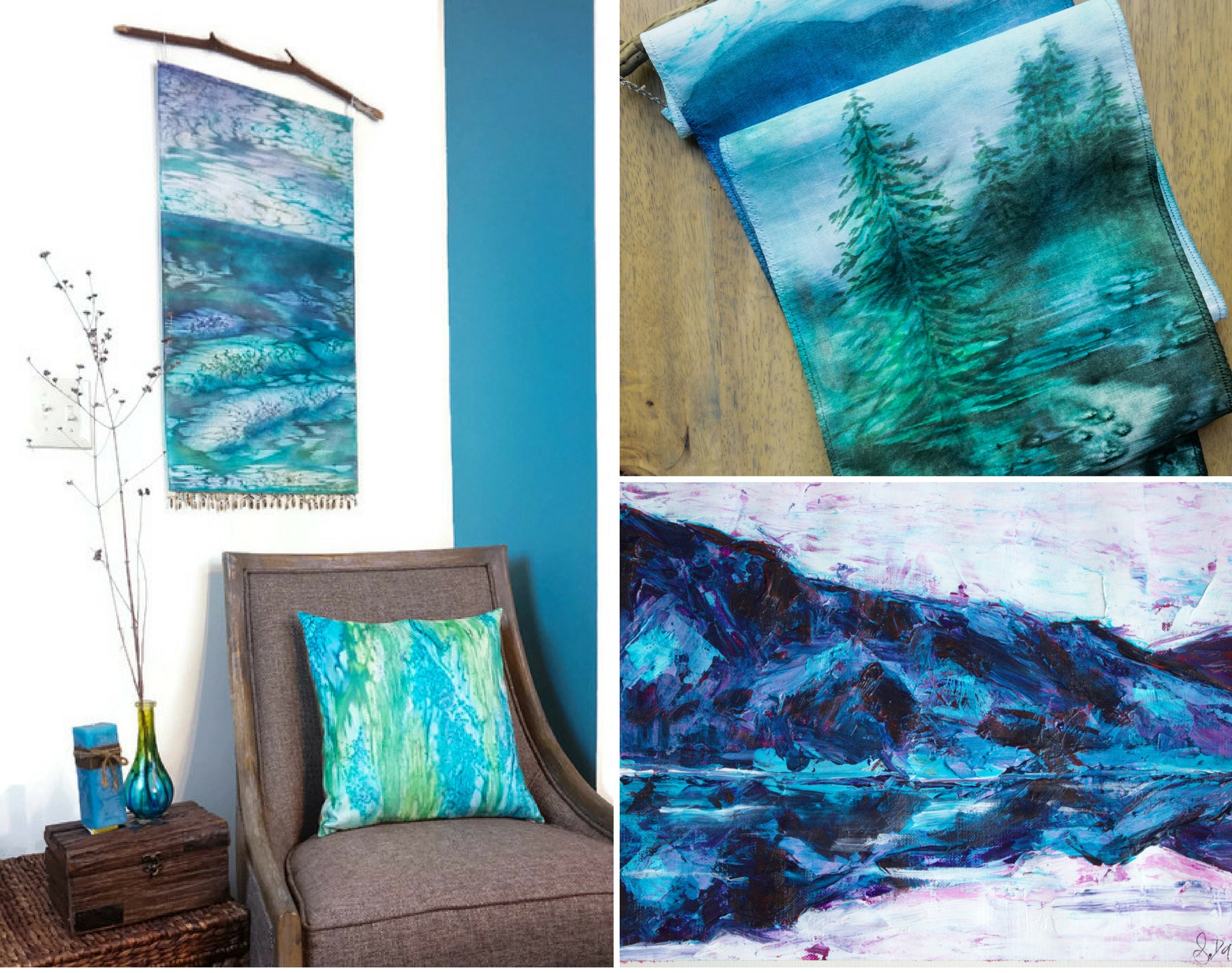 Some of our new pieces in blues, aquas, and greens are sure to bring to mind childhood memories of splashing about in cool waters on a hot day. See the items above and more new work in our shop here.  Keep an eye open for our newest item - soft velvet pillows with a subtle ombre fade!