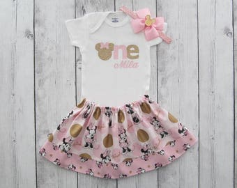 Pink Gold Minnie Mouse First Birthday Outfit - onesie and skirt, girl birthday, pink gold dress, minnie mouse headband pink gold,