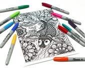 Mandala coloring, drawing #0893 printed on cardboard, relaxation coloring, fish, Japanese carp