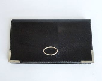 Black Vintage Leather Wallet/Clutch // Gold And Silver