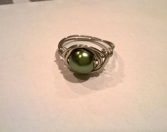 Made to Order Pearl Wire Wrapped Ring, one size